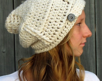 Button Band Slouchy Hat Chunky Pixie Beanie Womens Hat chunky Knit Crochet cap - Cream or CHOOSE Your Color