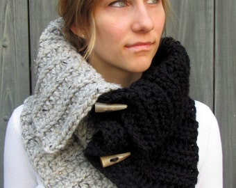 Chunky Cowl Hooded Cowl with Horns Womens Scarf Hooded Scarf Handmade Womens Accessories Black & Gray Tweed or CHOOSE Your Colors