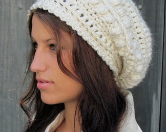Slouchy Beanie Winter Hat Womens Hat Gifts for Her Alpaca Wool Bobble Beanie Cap Handmade - Winter White or CHOOSE color