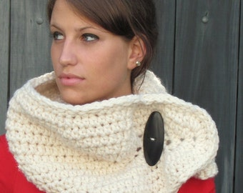 Womens Scarf, Chunky Wool Cowl, Handmade Scarf Wrap with Button Closure, Wishbone Cowl  - Vanilla Cream or CHOOSE Color
