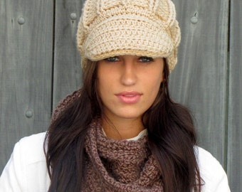 Womens Crochet Newsboy Hat Womens Accessories Knit Chunky Cap Handmade Bohemian Chic Wheat Cream OR Choose Your Color