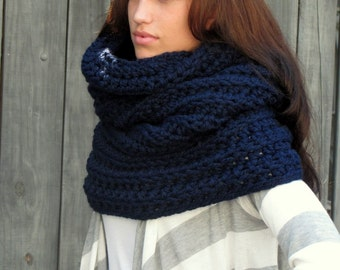 Chunky Cowl Hooded Cowl Womens Scarf Gifts for Her Wool Cowl Navy Blue Knit Crochet Cowl Snood Wrap Choose Your Color - Noni Tunnel