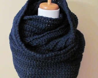 Womens Scarf Wool Eternity 24 Hour Scarf Infinity Circle Chunky Scarf Navy Chunky Wrap or CHOOSE Your Color