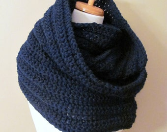 Wool Infinity Circle Scarf Chunky Hooded Scarf Womens Fashion Scarf Oversized Cowl Wrap - Navy Blue or CHOOSE Your Color