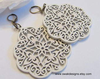 Bohemian Hoops Filigree Earrings Large White Wood Hoop Earrings Boho Filigree Earrings  Lightweight Carved - CHOOSE Your color