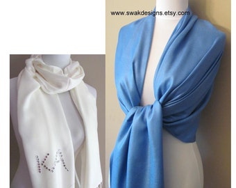 Blue Pashmina Scarf Wedding Pashmina Bridesmaid Shawl Wedding Accessories Pashmina Shawl Set Bridesmaid Gift Idea CHOOSE Your Color