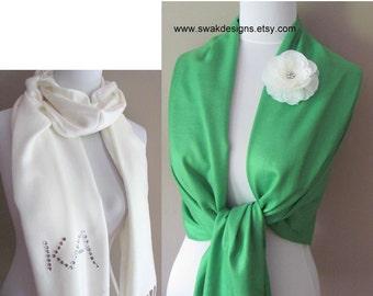 Wedding Pashmina Emerald Green Pashmina Scarf Bridal Shawl Wedding Scarf Bridesmaid Shawl Bridesmaid Gift Idea or CHOOSE Your Color