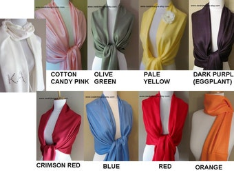 Wedding Pashmina Scarf Set Choose Any 7 Colors Wedding Shawl Bridal Accessories Wrap Bridesmaids Gift Idea Stole Shawl Wedding Accessories