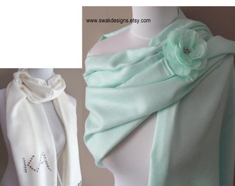 Wedding Pashmina Pale Mint Green Pashmina Scarf Bridesmaid Gift Idea Wedding Wrap Wedding Stole Long Shawl or CHOOSE Your Color