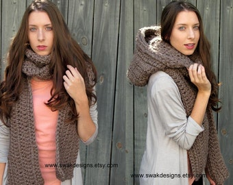 Womens Scarf Hooded Scarf Chunky Scarf Scoodie Knit Crochet Scarf Long Oversized Scarf Handmade Mortar Brown or Choose your Color