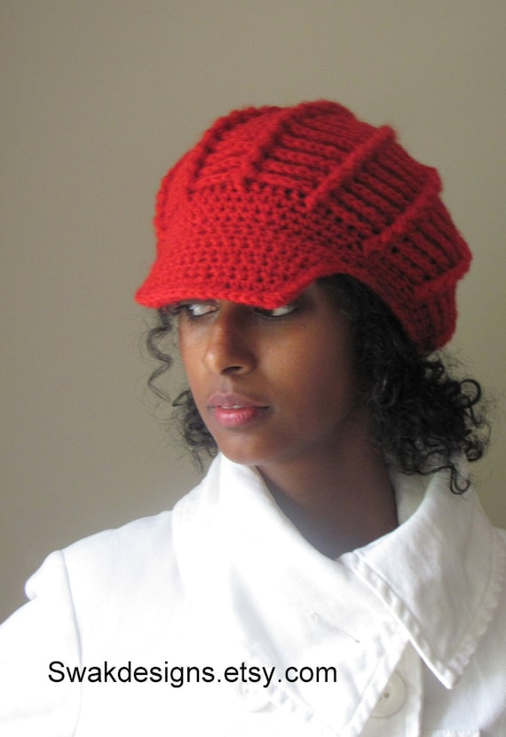 Cotton Hat Braided Crochet hat 100% Cotton Slouchy cap Newsboy Cap Slouchy hat Seasonal Downtown Cap Handmade - Red or CHOOSE Your Color