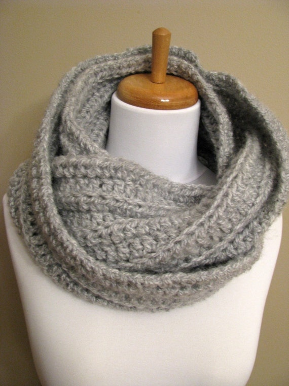Eternity Scarf - Oversized RIBBED - Light GRAY - Handmade Couture - READY to SHIP