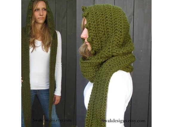 Hooded Scarf Scoodie Chunky Wool Scarf Knit Crochet Handmade Scarf Oversized Long - Cilantro Green or Choose your Color