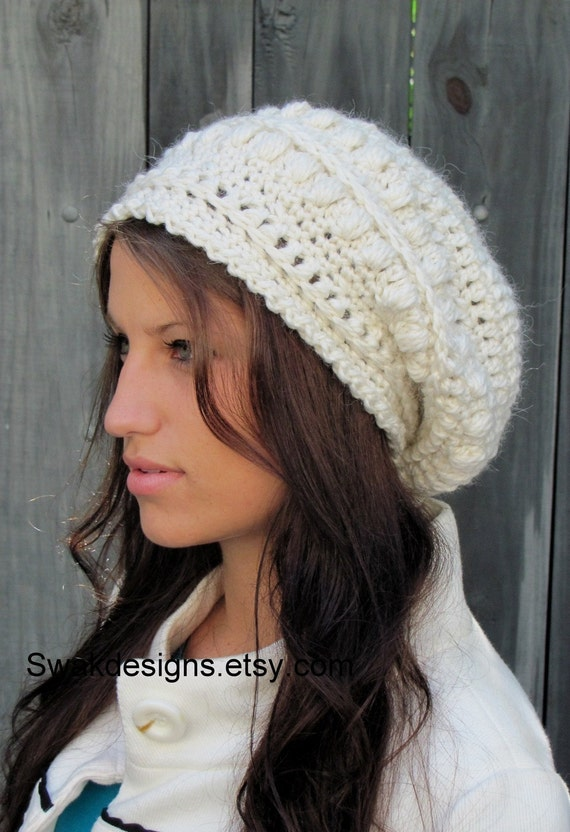 Slouchy Beanie Winter Hat Womens Hat Gifts for Her Alpaca Wool Bobble Beanie Super Soft Handmade Winter White or CHOOSE color