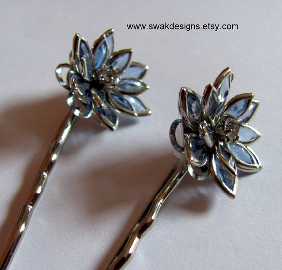 Sapphire Blue Glass Lily Bobby Pin Set - Vintage Glam