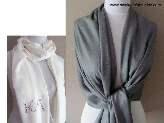 Pashmina Scarf Wedding Shawl Bridesmaid Gift Idea Womens Scarf Bridal Accessories Wedding Wrap Womens Scarf Dark Gray or CHOOSE Your Color