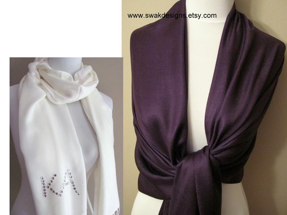 Wedding Pashmina Wedding Scarf Wrap Dark Purple Pashmina Scarf Bridal Shawl Womens Scarf Bridal accessories- Eggplant or CHOOSE Color