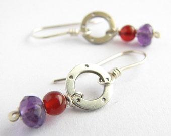 Carnelian & Amethyst Sterling Silver Earrings