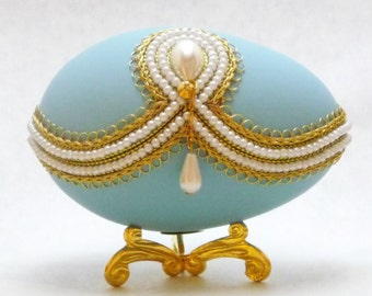 Heavenly Pearl Drop Faberge Style Decorated Egg