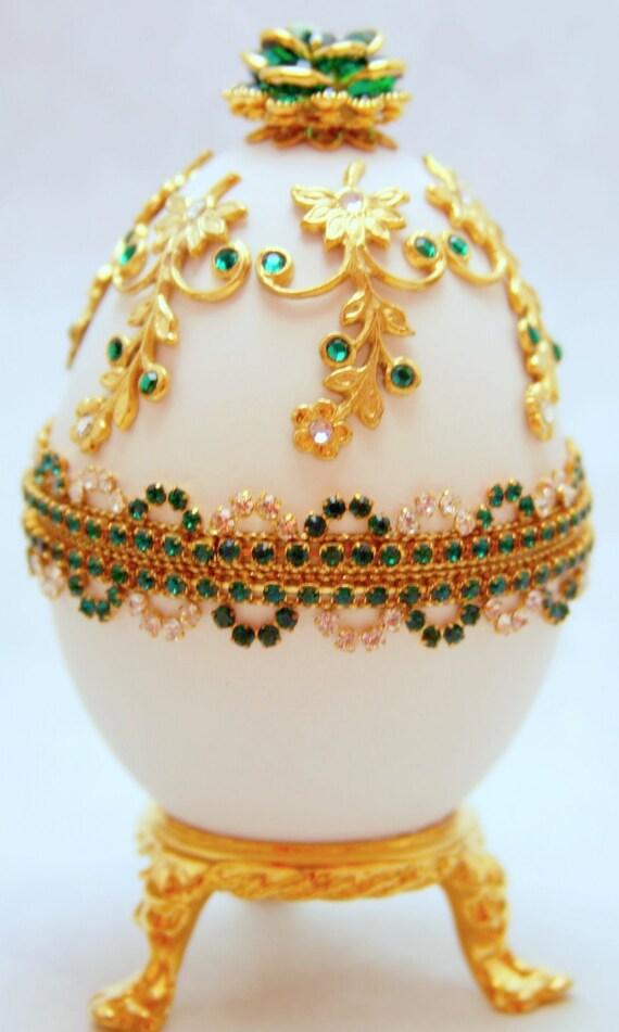 Divine Emerald Treasures Faberge Style Jeweled Egg