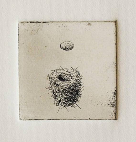 Bird Nest and Egg original etching