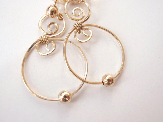 Gold Hoop Earrings, Swirly with Gold Bead