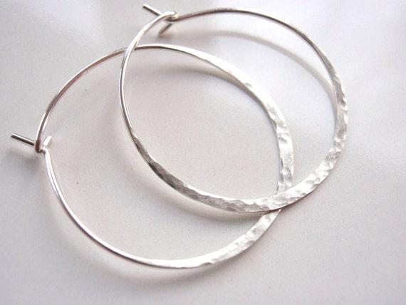 Sterling Silver Hoop Earrings Hammered, 20 gauge