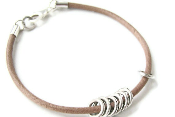 Tan Leather Bracelet & Sterling Silver Textured Rings Sz 8