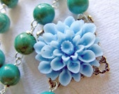 50 PERCENT DISCOUNT - Sea Green Necklace - With Turquoise