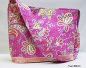 Sari Bloom slouchy tote bag purse tote hobo with Amy Butler Soul Blossoms fabric pink purple flowers
