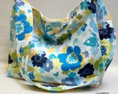 2 day sale 20% off Slouch tote Small yellow and Blue Butterfly Print slouchy tote bag purse hobo with Moda Just Wing it fabric