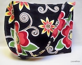 Slouch tote Large floral multi color Rose Print slouchy tote bag purse hobo with Henry Glass fabric