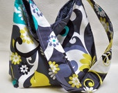 4 Day Sale prices reduced Hobo Slouch tote Large floral black aqua mustard and grey with Michael Miller Daisy Doodle sy fabrics daisy daisies