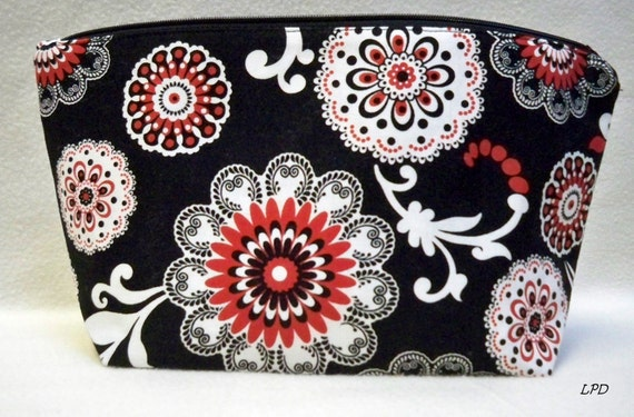 Large Makeup Bag black Red and White desinger fabrics clutch tampon holder zipper pouch