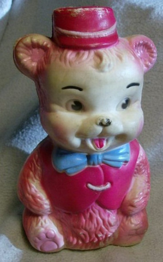Vintage Mid Century 1950s Childs Soft Plastic BEAR wth Blue Bow Tie and a Red Cap NOISE squeaky squeaker squeeky Maker Toy
