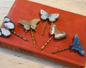 Blue Butterfly Bobby Pin: Black Monarch Wings, Woodland Creature, Bohemian Natural History Hair Accessories by AlpineGypsy on Etsy