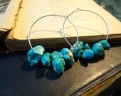 Hoop Earrings: Frida Kahlo, Chunky Turquoise Stones, 925 Sterling Silver, Mexican Folk Art Jewelry by AlpineGypsy on Etsy