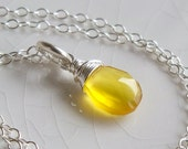 Bit of Sunshine- Sterling silver and golden yellow chalcedony necklace
