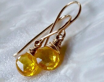 Bright sunshine yellow zircon wire wrapped briolette drop earrings - 14k gold filled handmade gemstone jewelry
