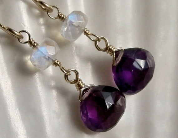Purple amethyst blue moonstone gemstone long dangle earrings - February birthstone - 14k yellow gold filled handmade wirewrapped jewelry