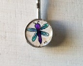 Dragonfly Hand painted watercolor illustration hair bobby pin