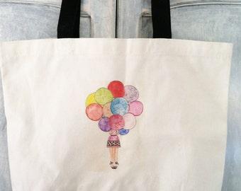 Birthday  watercolor print canvas bag reusable fashion illustration