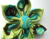 Go Green, Baby....Dog Collar Fabric Flower......MEDIUM