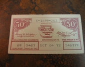 Vintage 1972 PA Lottery Tickets