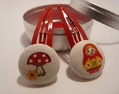 RED BABUSHKA russian doll Tinned Delights Hair Set by Berrylicious Buttons