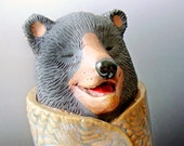 Laughing Bear Sculpture Clay Animal Incense Burner
