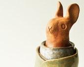 Rabbit Sculpture, Power Animal, Spirit Guide Clay Animal Art