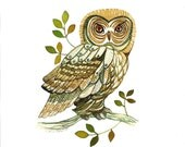 Owl Art Print, from an Original Watercolor, Stylized Woodland Animal Illustration