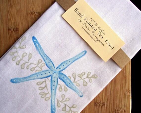Kitchen Towel 100% Cotton STARFISH White Tea Towel