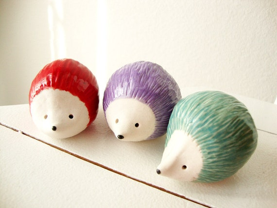Clay Animal Sculpture, Hedgehog Herd, Porcelain, Set of 3, Berry Red, Lilac Purple, Mint Green, jewel tones